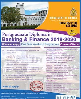 Postgraduate Diploma in Banking and Finance (PGDBF) 2019-2020 Program