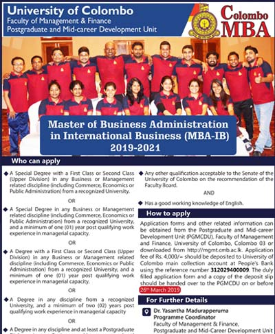 Master of Business Administration in International Business (2019-2021) CLOSING DATE EXTENDED TILL 11th APRIL 2019