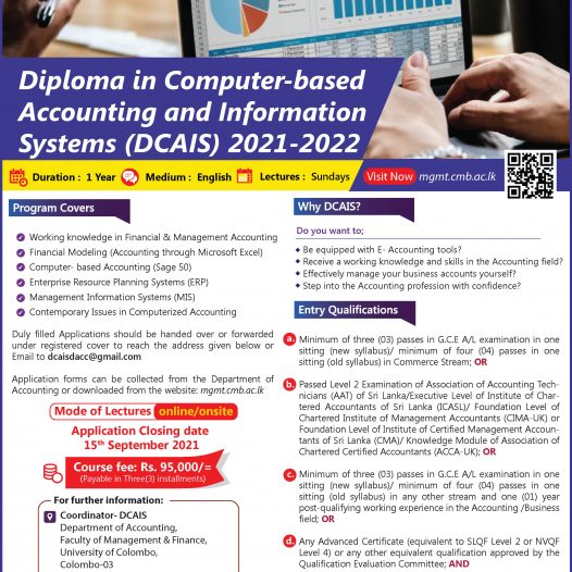 Diploma in Computer-based Accounting and Information Systems (DCAIS) 2021