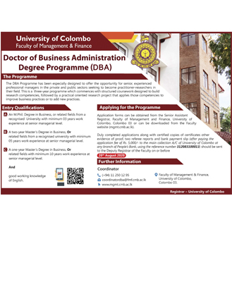 Doctor of Business  Administration  Degree Programme  (DBA) 2020
